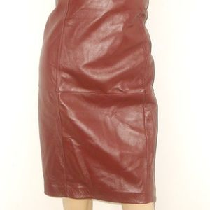 CLIFFORD AND WILLS BURGUNDY LEATHER SKIRT SIZE 10